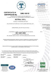 ISO 14001:2004 Sotral azienda trasporto pasti